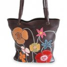 Leather handbag, 'Wildflowers' 130738
