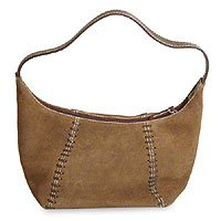 Leather handbag, 'Mocha Spice' 137621