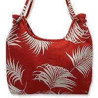 Cotton shoulder bag, 'Crimson Dance' 152457