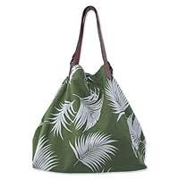 Cotton and leather handbag, 'Forest Delight' 153026