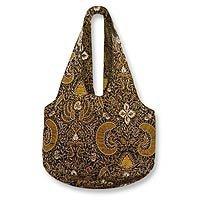 Beaded batik shoulder bag, 'Royal Art' 154982
