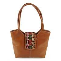 Leather handbag, 'Caramel Style' 169949
