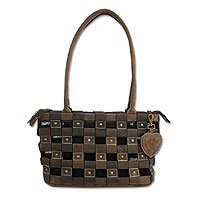Leather shoulder bag, 'Bronze Basket' 169998