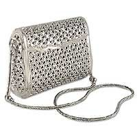 Sterling silver purse, 'Jasmine Forest' 170010