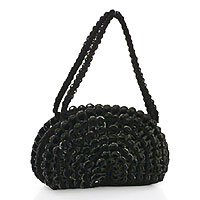 Soda pop-top handbag, 'Rustic Black Fan' 181493
