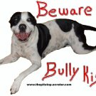 """pitbull t-shirt """"beware bully kisses 2"""""""