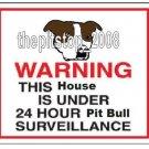 "Pitbull T-Shirt  ""Warning Pit Bull Serveillance"""