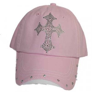 Pink Rhinestone Cross Ball Cap