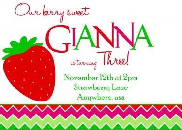 Strawberry Invitations, Strawberry Invite, Strawberry Shortcake Inspired