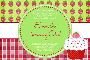 Strawberry Invitations, Strawberry Cupcake Invite, Strawberry Shortcake Inspired