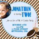 Milk and Cookies Birthday Party Photo Invitation, cookies invite, digital, printable