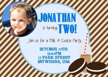 Milk and Cookies Birthday Party Photo Invitation, cookies invite, digital, printable