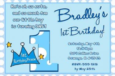 Lil Prince 1st Birthday Invitation, Little Prince Crown 1st Birthday