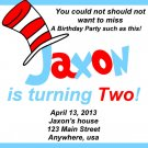 Dr Seuss BIRTHDAY Invitation - Dr. Seuss BIRTHDAY Printable Invitation, with Cat in the Hat