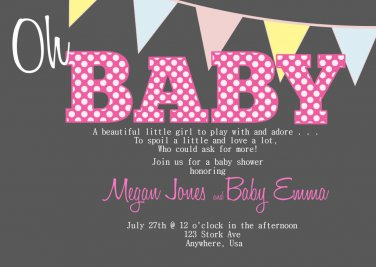 Baby Shower Invitations - Chalkboard Design - PRINTABLE Invitation - G is for Girl
