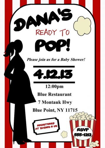Ready to Pop Baby Shower Invitation, She's ready to pop Digital Printable File