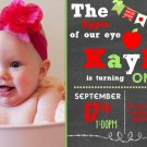 Apple of my Eye Theme Birthday Invitation, Chalkboard Style