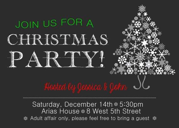 Christmas Dinner Party Invitation, Chalkboard Christmas Dinner Invitation