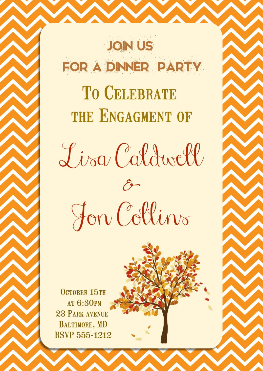Engagement Party Invitation, Autumn Themed Engagement Invitations,