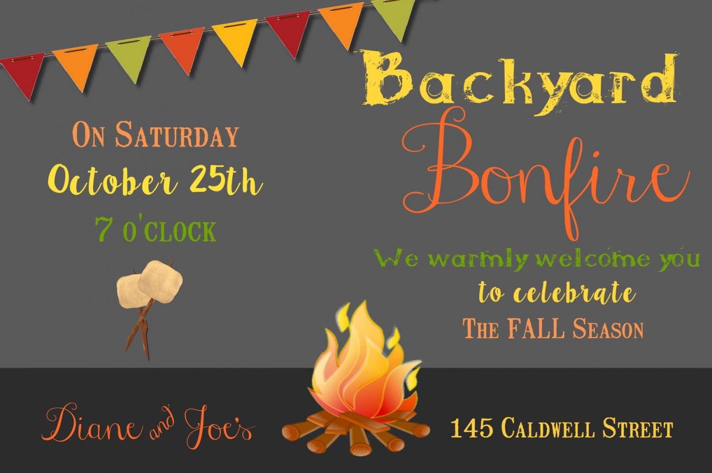 Bonfire Invitation, Autumn Invitation, Fall, Bonfire, Backyard Party Invitation, Digital