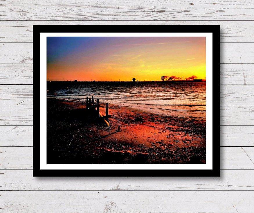 Beach Sunset Wall Decor, Painting Effect Print, Digital Photo Home Decor