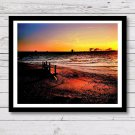 Beach Sunset Wall Decor, Painting Effect Print, Digital Photo Home Decor