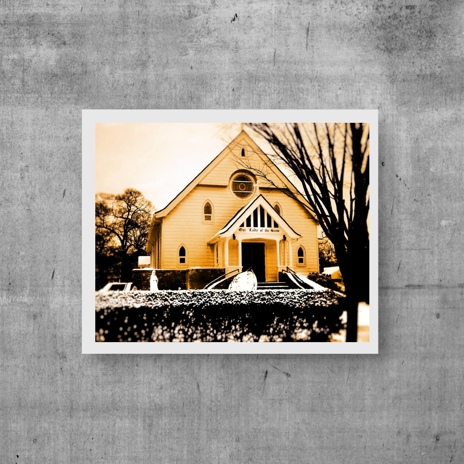 Church Photography,  Religious Photo Home Decor, Vintage, Our Lady Of Snow