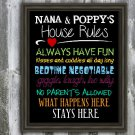 Nana and Poppy's House Rules, Digital Wall Art