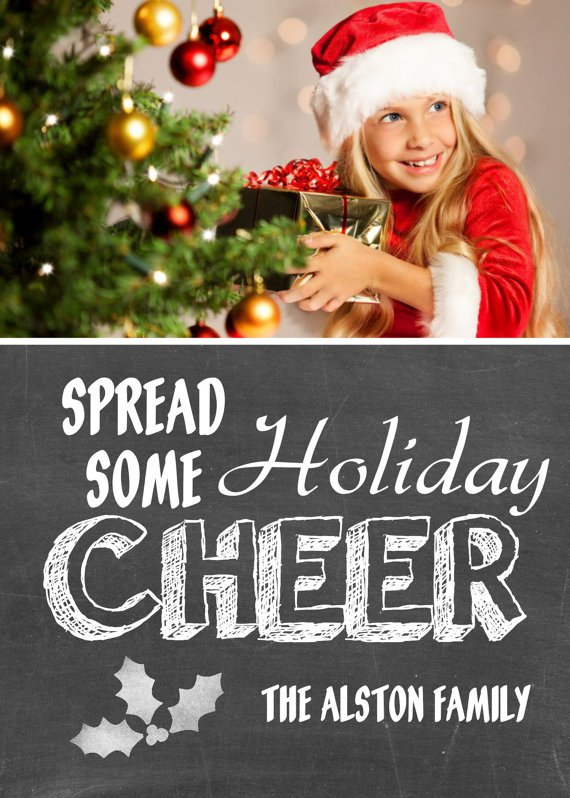 Photo Christmas Card - Chalkboard Holiday Christmas Card - Chalkboard Christmas Card Template