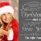 Photo Christmas Card - Chalkboard Holiday Christmas Card - Chalkboard Christmas Card Template