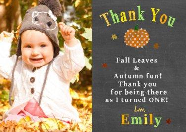 PUMPKIN FIRST BIRTHDAY Chalkboard Thank You Cards