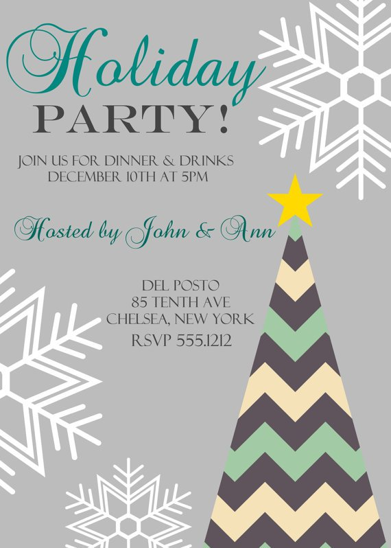 Christmas Dinner Party Invitation, Holiday Dinner Party Invitation, Company Christmas Party