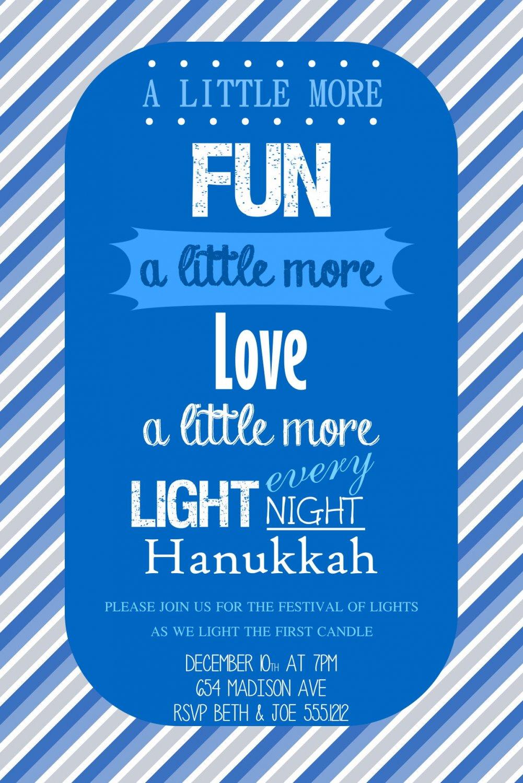 Hanukkah Invitations, Hanukkah Dinner Party, Hanukkah DYI Invites