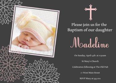 Girls Baptism Invitation, Christening Invitation, Naming Day