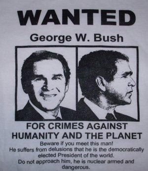 WANTED George W. Bush Adult Size Medium T-Shirt