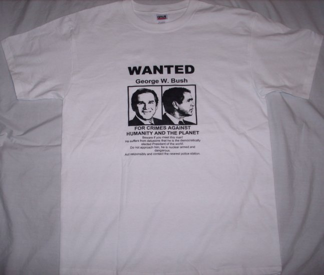WANTED George W. Bush Adult Size Large T-Shirt