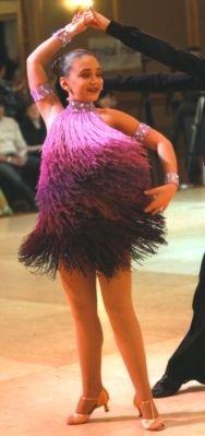 Purple Ombre Fringe Competition Latin Dress
