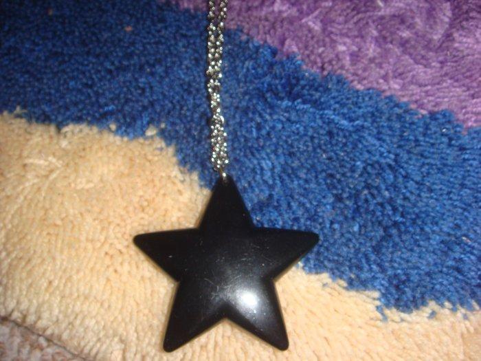 Black star long necklace