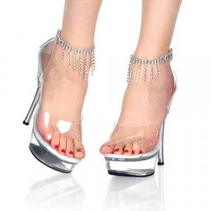 Women's Shoes with Rhinestone Fringe Ankle Strap