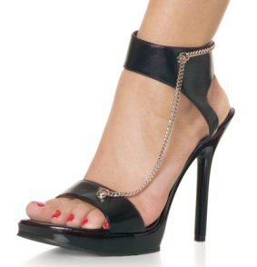 Women's Open Toe Sandals with Ankle Strap & Chain Accent