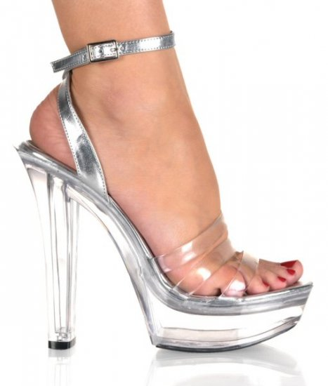 Women's Block Heel Shoes with Wrap Around Ankle Strap & Clear Foot Straps