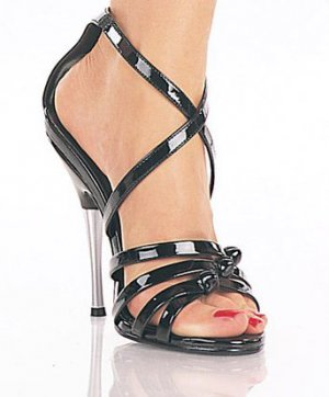 """Entice-5"""" heel, buckled criss cross ankle strap"""