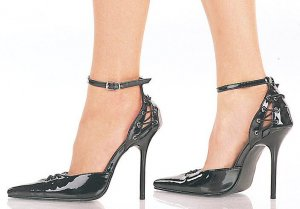 Milan Women's D'Orsay Style Pumps with Corset Details and Ankle Strap