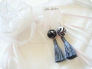 Swirly Porcelin Ball Tassel Earrings