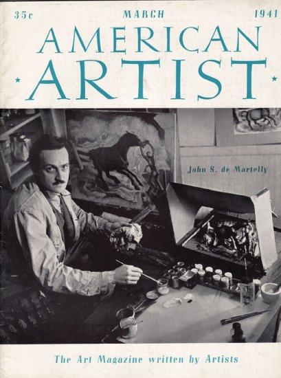 AMERICAN ARTIST Magazine March 1941 Watson-Guptil Publication Magazine Back Issue