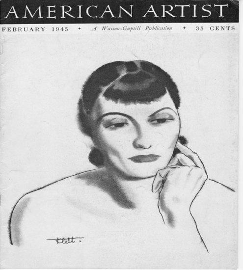 AMERICAN ARTIST Magazine February 1945 Watson-Guptil Publication Magazine Back Issue