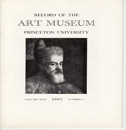 Record of The Art Museum Princeton University No. 2  Volume XXII 1963 Leandro Bassano Softcover Book