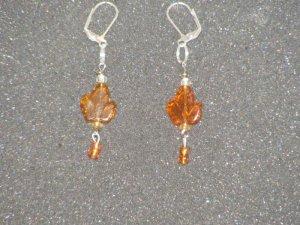Handcrafted golden brown earrings