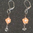 Handcrafted porcelain peach rose earrings