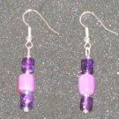 Handcrafted purple glass beaded earrings